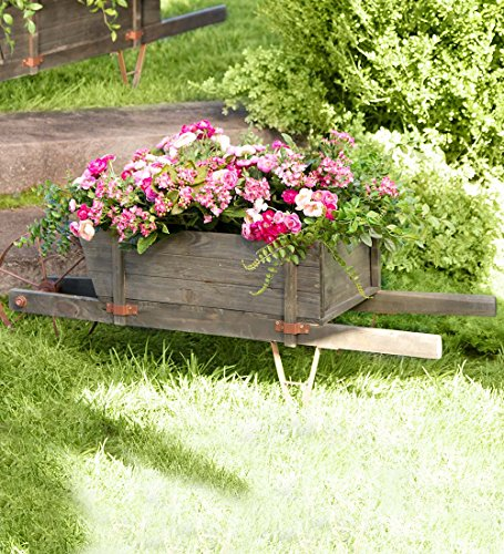Plow & Hearth Extra Large Decorative Wood Garden Wheelbar...