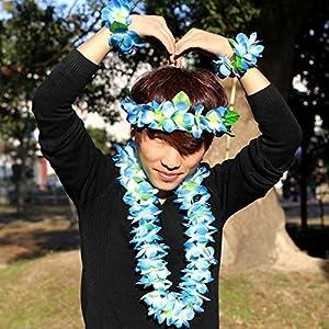 JSSHI Lush Hawaiian Headpiece,Hawaiian Flower Leis Jumbo Necklace Bracelets Headband Set with Leaf for Hawaiian Luau Party Decoration Supplies (with Green Leaves,Blue) 5
