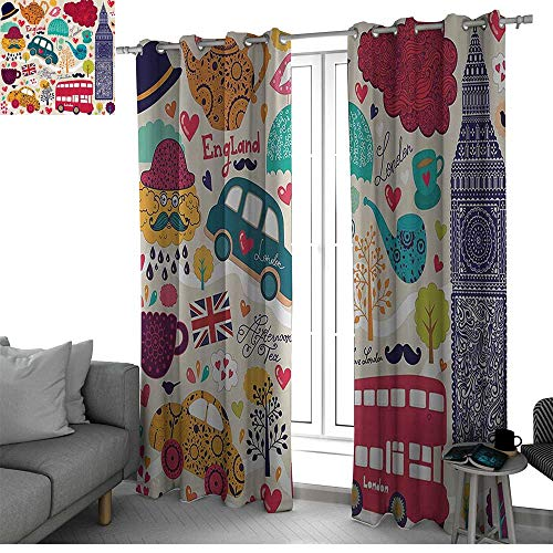 London Decor Collection Best Home Fashion Wide Width Thermal Insulated Blackout Curtain Colorful Set of Local Symbols Painting Bus Big Ben Tea Pot Cup Umbrella Hat Retro Cab Image drapes panels