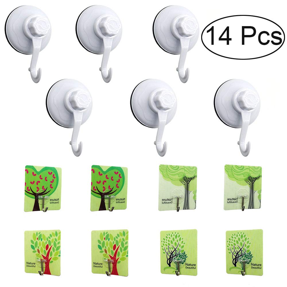 West Bay 14pcs Large Suction Cup Hooks,Christmas Wreath Holders ,Shower Hangers Giant Suction Cups for Wreath Hangers Glass Doors, Windows Home Kitchen Hooks Supplies Decorations by West Bay (Image #1)
