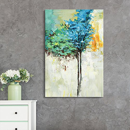 Abstract Oil Painting Style Colorful Tree