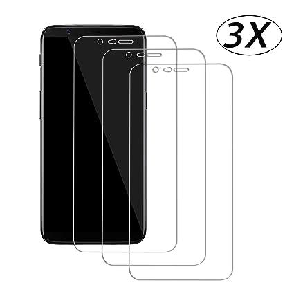 3 X Protector de Pantalla para OnePlus 5T A5010,JHTC Cristal Vidrio Templado 0.3 mm