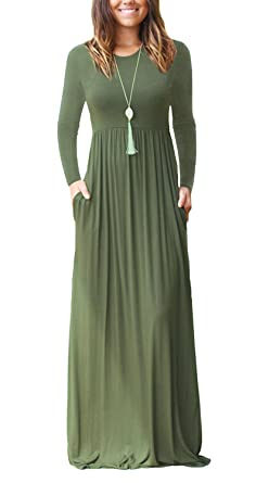 HAOMEILI Women s Long Sleeve Loose Plain Long Maxi Casual Dresses with  Pockets XS Army Green a18047e9bae4
