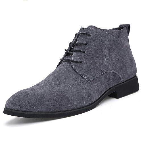 Hombres Hechos A Mano Calidad Moda Gamuza Cuero Botines Hombres Invierno Nieve CáLido Formal Encaje hasta Zapatos De Hombre: Amazon.es: Zapatos y ...