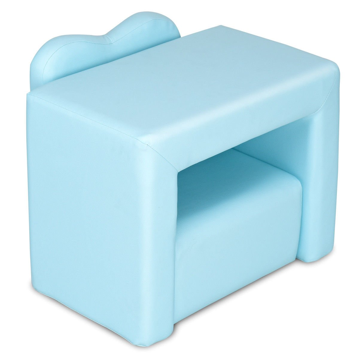 Blue Multi Functional Kids PVC Leather Sofa Table Chair Set Folded Armchair