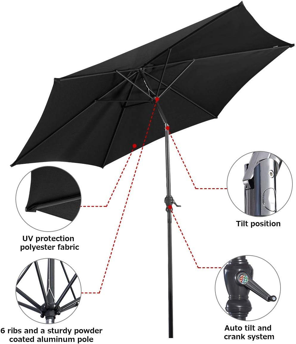 2.7M, Black Outdoor Patio Beach Sun Shade COSTWAY 2.7M Garden Parasol Umbrella with Winding Crank and Tilt Function
