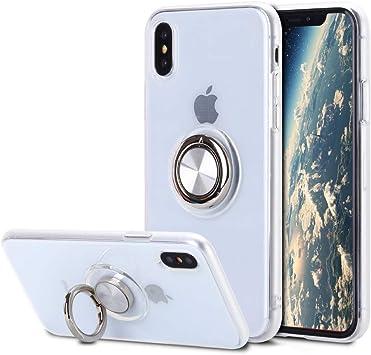 Caler Coque de Protection en Silicone Souple pour iPhone XS//iPhone X avec Anneau de Support magn/étique /à 360 degr/és