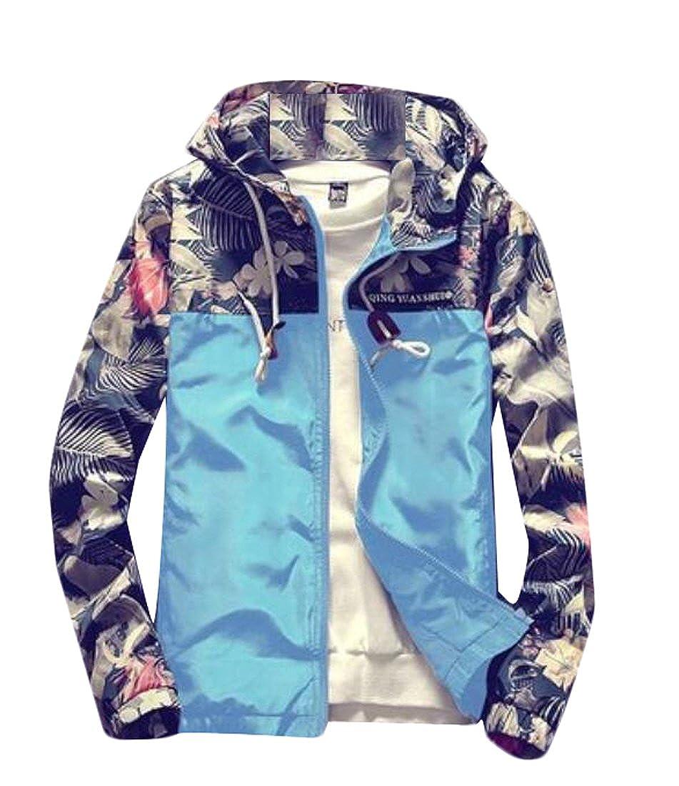 M2MO Mens Floral Long Sleeve Hooded Windbreaker Jacket