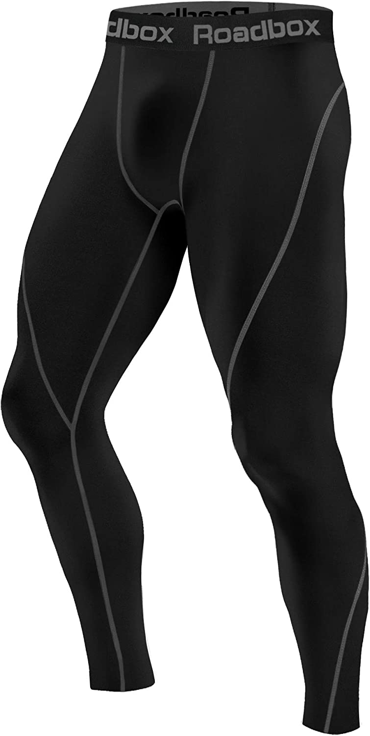 Roadbox 1 or 2 Pack Men's Compression Pants Thermal Workout Cool DrySports Leggings Tights Baselayer
