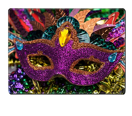 Luxlady Natural Rubber Placemat IMAGE ID 26111610 Close up view of purple sequined Mardi Gras mask with colorful beads out focus in the (Carnavale Costumes)