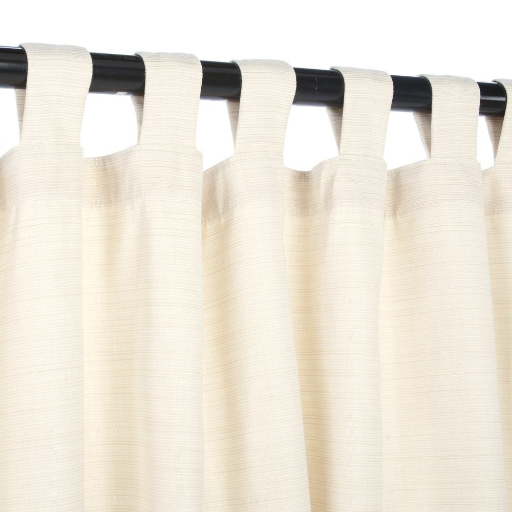 Sunbrella Outdoor Curtain with Tabs - Dupione Pearl - 50'' X 120'' by Sunbrella