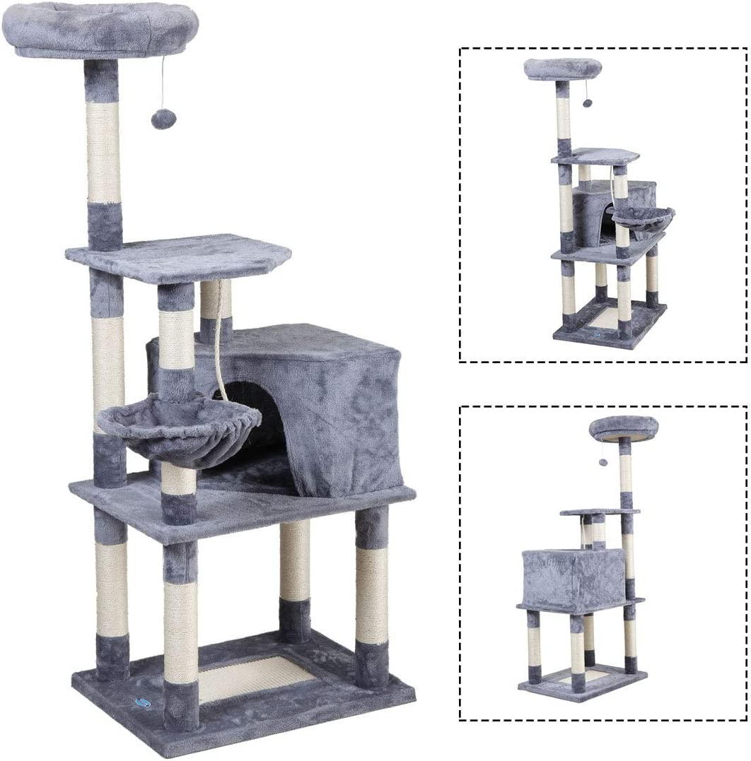 JAXPETY 60 Cat Tree Kittens Activity Tower w Condo and Scratching Post Pet Play House Light Grey