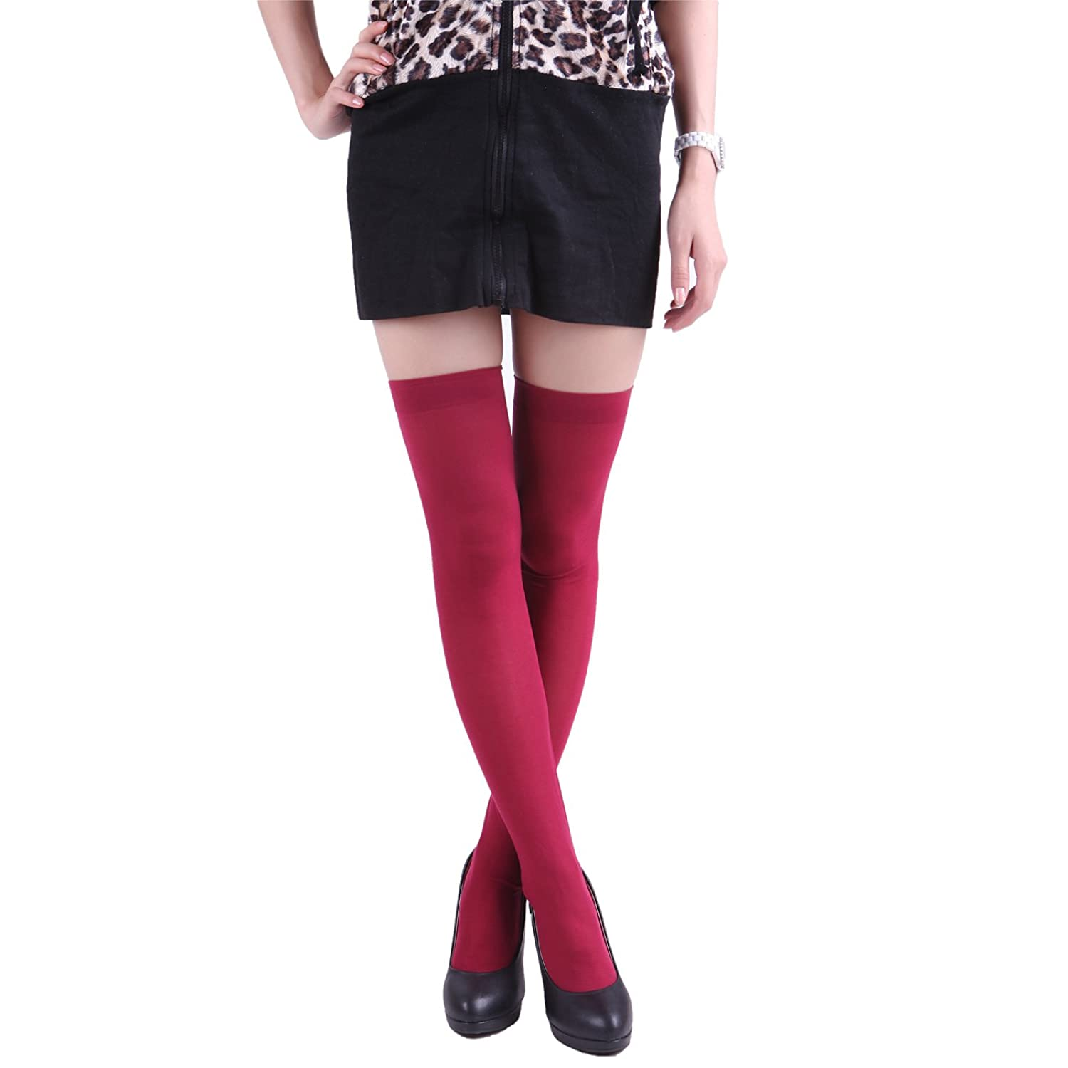 hde women u0027s 4 pack of solid color opaque thigh high stockings