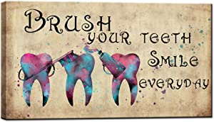 sechars Brush Your Teeth Bathroom Decor Abstrat Colorful Tooth Painting Art Prints Funny Poster Canvas with Wood Framed for Dental Clinic Doctor Office Decor 20x36inches