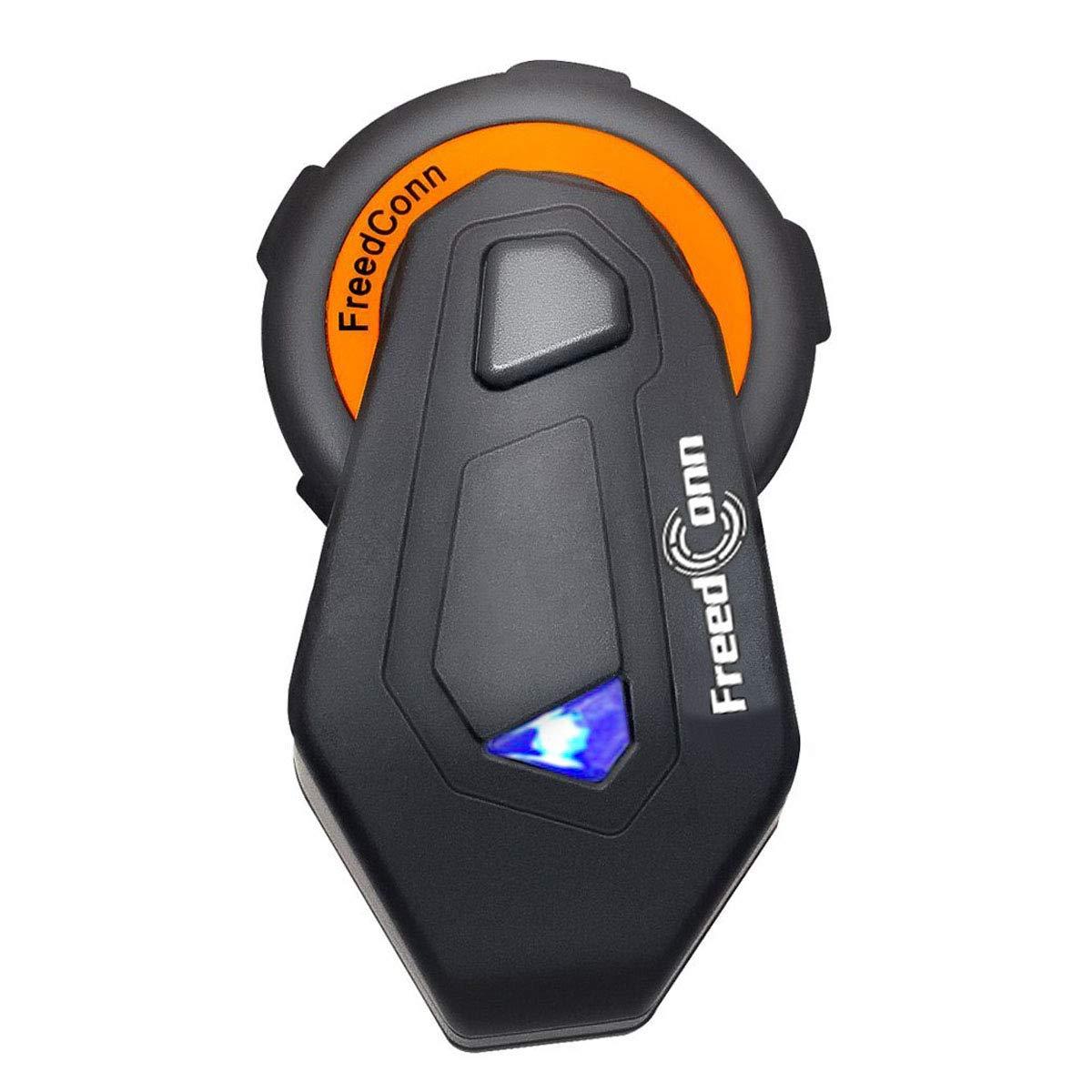 FreedConn T-MAX Motorcycle Helmet Intercom Bluetooth 4.1 Headsets, Full Duplex 6 Riders Group Helmet Intercom, Range 1000m, IPX65 Waterproof, Voice Prompt, Stereo Music, FM Radio, GPS (1 Pack)