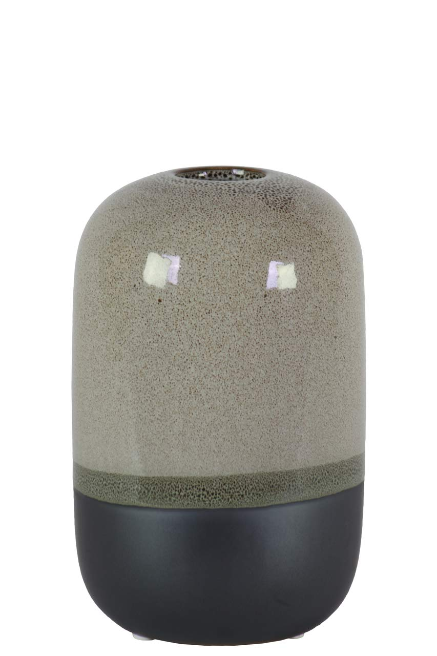 Benzara BM181981 Cylindrical Stoneware Vase, Gray and Black