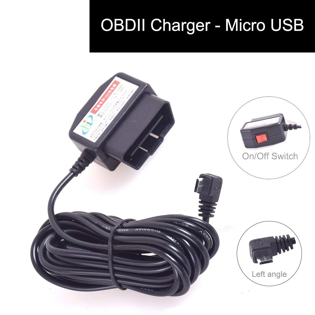 Car OBD2 Dash Camera DVR Charging Cable Micro USB Power Adapter with Switch Button - 16Pin OBD2 Connector Direct Charger for Gps Camcorder Tablet E-dog Phone(HTC Samsung Blackberry) - 11.5FT 12-24V