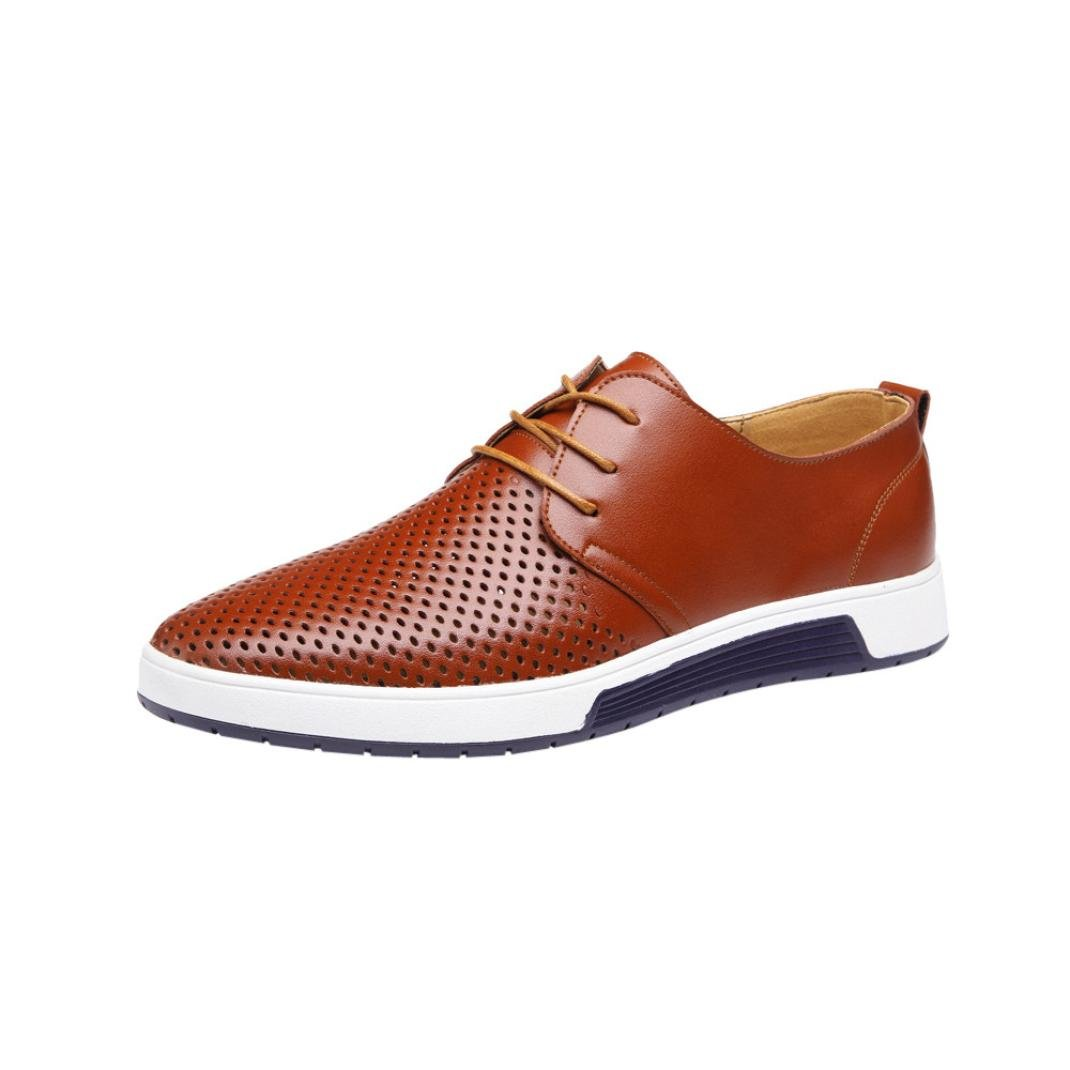 Mens Hollow Solid Leather Shoes Men's Summer Breathable Business Leisure Slip-On Driving Office Shoes (brown, 45(US:9.5))