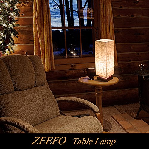 ZEEFO Bedside Table Lamp, Retro Style Solid Wood Table Lamps with Fabric Shade Nightstand Mini Desk Lamps for Bedroom, Living Room, Baby Room, Bookcase (Square) by ZEEFO (Image #6)