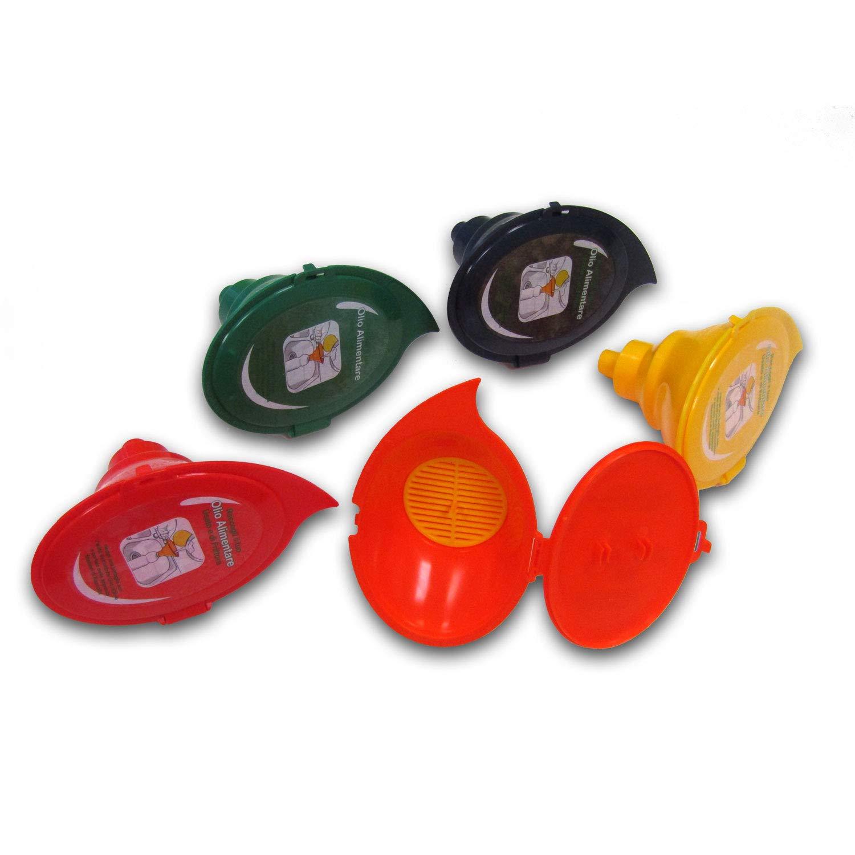 GOCCIOLINA Set di 5 Imbuti per il recupero dell'olio alimentare usato e di frittura per raccolta differenziata nei colori giallo, arcancione, blu, rosso, verde con filtro estraibile e coperchio rimovibile con sede per il tappo Nuova C.Plastica S.r.l.