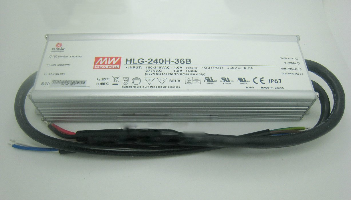MEAN WELL HLG-240H-36B 36V dimmable Power Supply 240W 6.7A IP67 waterproof led driver