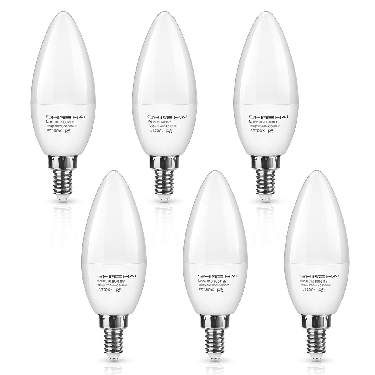 SHINE HAI Candelabra LED Bulbs 50W Equivalent, 500 Lumens 3000K Warm White Decorative Candle Light Bulb E12 Base, Chandelier B11 LED Light Bulbs, Pack of 6
