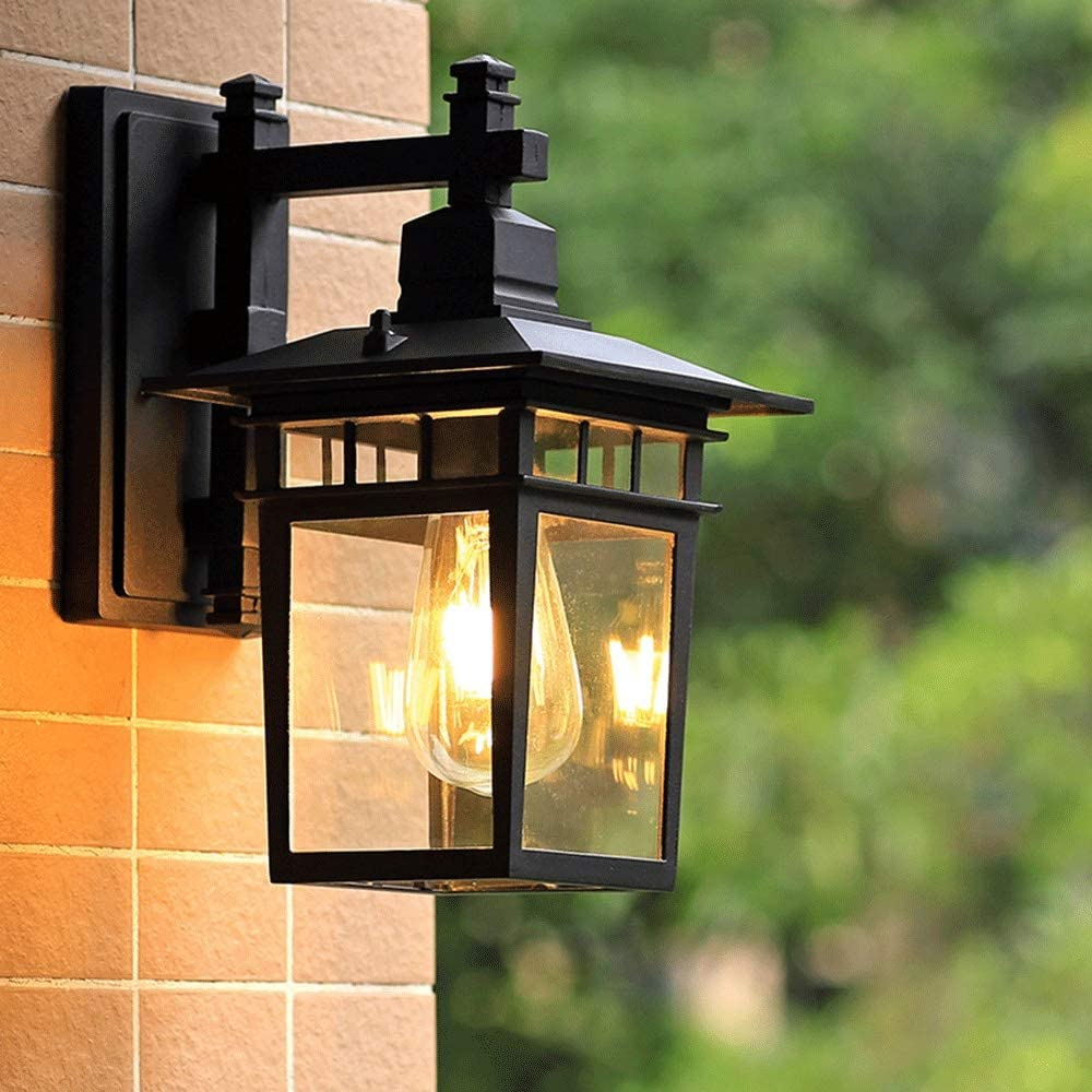 インテリア照明 壁掛け照明 led壁灯 回廊(28.5x38cm)ウォールランプ - ガラス/金属、ヴィンテージ屋外防水ガーデンヴィラヴィンテージバルコニーコートヤードLEDウォールライト、E27 * 1、ガーデン、アウトドア、 装飾用ライト