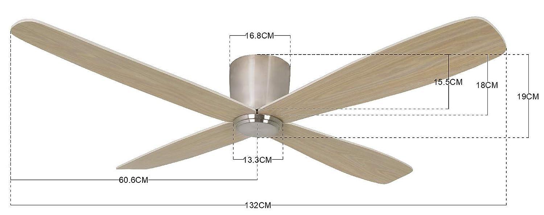 132 cm Durchmesser 6 Stufen 35 W Chrom geb/ürstet//Teak Lucci air Fraser Deckenventilator mit Fernbedienung Sommer//Winter Lauf