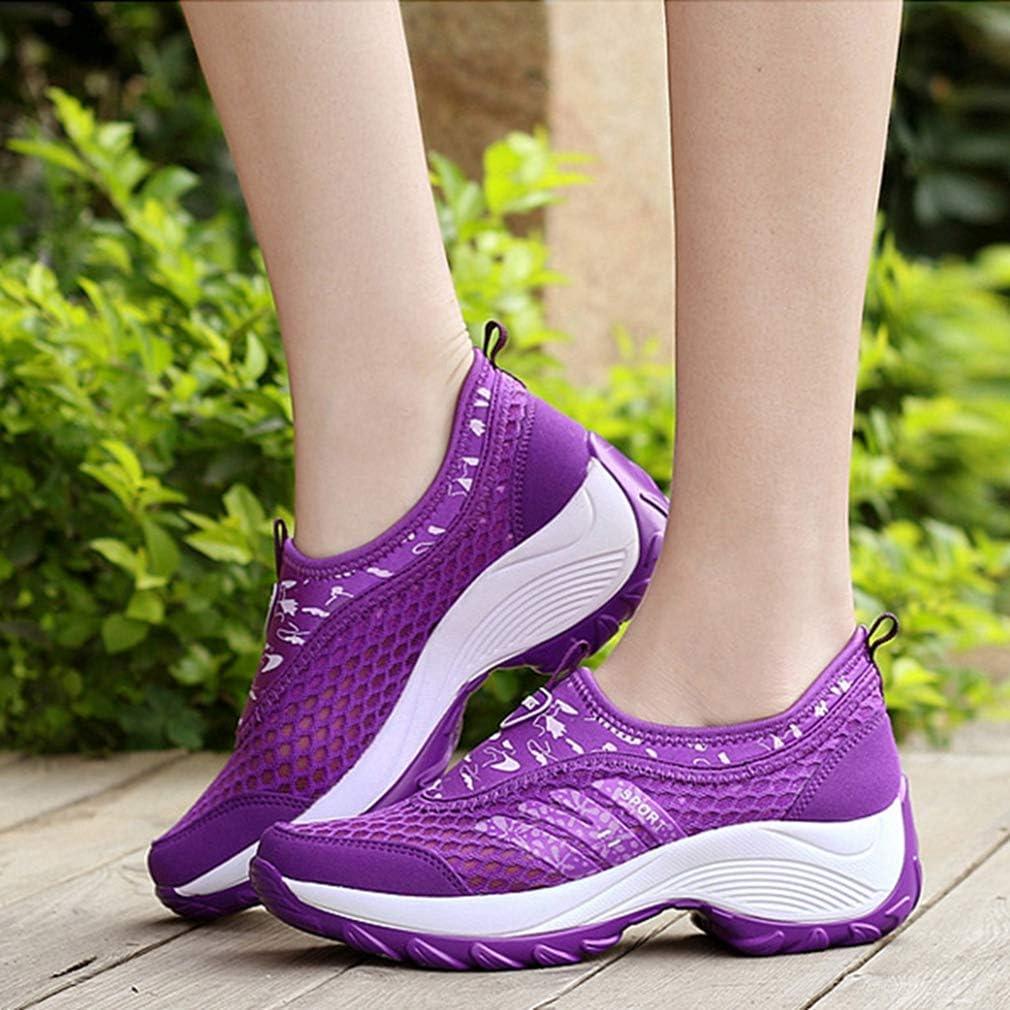 Veveca Women Outdoor Running Trail Hiker Non-Slip Casual Climbing Sneakers Lightweight Mesh Hiking Shoes Purple