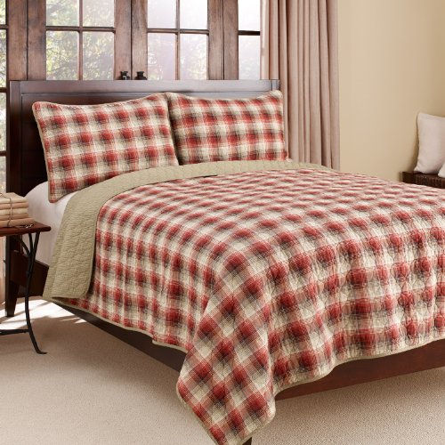 Eddie Bauer Ravena Plaid 3-Piece Cotton Reversible Quilt