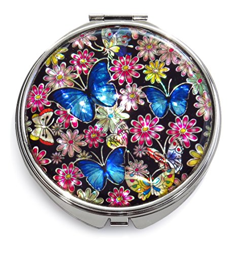 Floral Design Compact Mirror - Seoul Craft Blue Makeup Mirror Mother of Pearl Metal Dual Compact Folding Magnify Flowers Butterfly Design