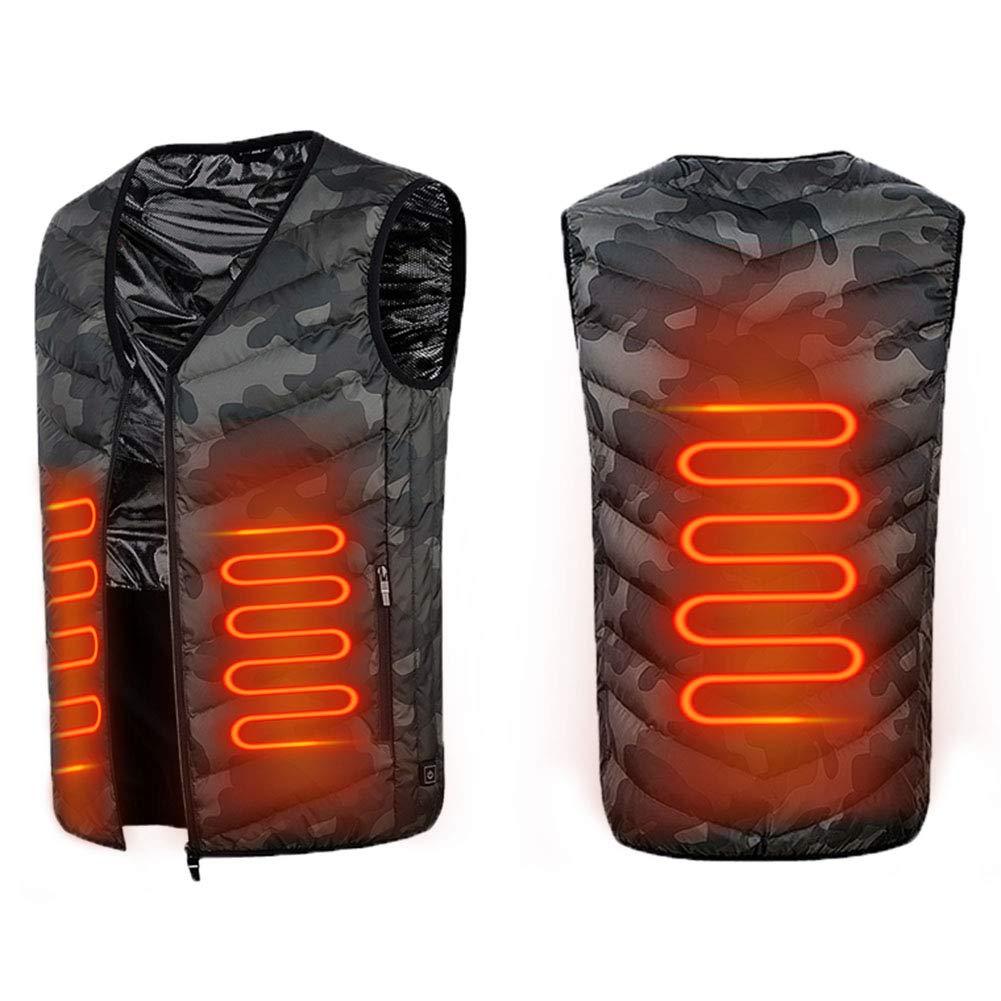 CXSMKP USB beheizte Weste, 3 temperaturverstellbare Körperheizung Heizung warme Kleidung, waschbare elektrische Jacke USB Heizweste geeignet für Outdoor-Sportarten Wandern Camping Jagd,M