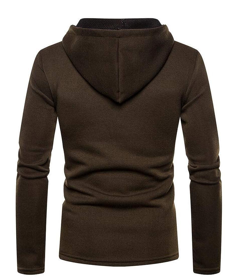 Hilization Mens Autumn Winter Solid Color Slim Fit Pullover Hoodie Sweatshirt