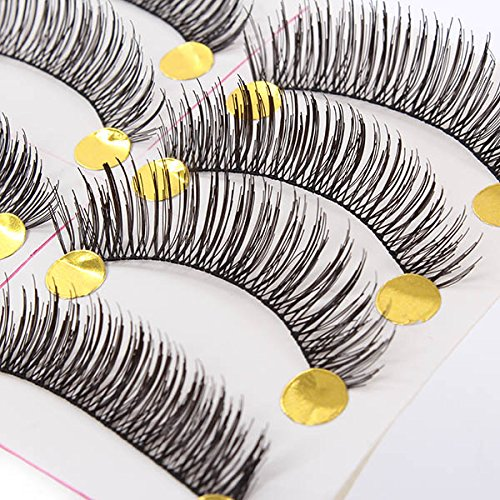 Urparcel Natural Fake Eyelashes False Eye Lashes Handmade Lashes 10 Pairs