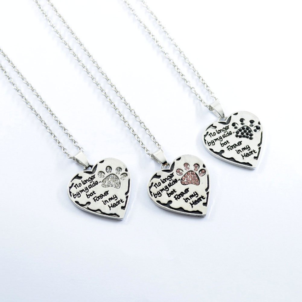 MayLove No Longer by My Side but Forever in My Heart Heart Necklace Paw Print Rhinestone Pet Jelwery