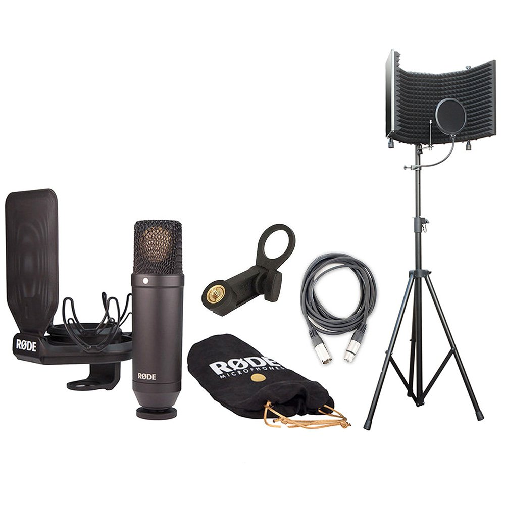 Rode NT1 Kit Condenser Mic w/AxcessAbles Studio Mic Shield Stand & Audio Cable