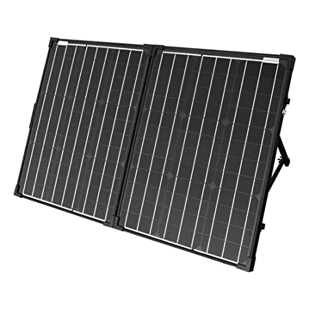 front facing acopower uv11007gd 100w foldable solar panel with 12v battery and generator ready suitcase with charge controller