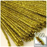 The Crafts Outlet Chenille Sparkly Stems, Pipe Cleaner, 20-in (50-cm), 1000-pc, Light Gold