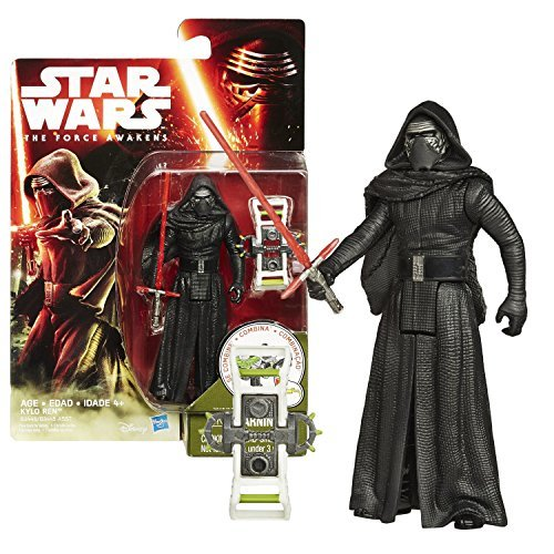Hasbro Year 2015 Star Wars The Force Awakens Series 4 Inch Tall Action Figure - KYLO REN (B3446) with Red Lightsaber Plus Build A Weapon Part #2