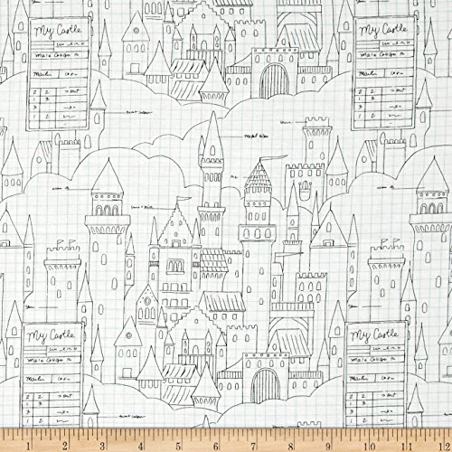 Michael Miller Sarah Jane Magic Castle Plans White Fabric By The Yard Plans Yard