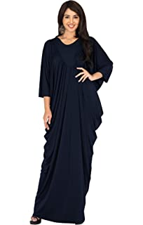 09f62e4e372 KOH KOH Womens Long Sleeve Flattering Oversized Baggy Loose Casual Maxi  Dress
