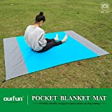 ourfun Pocket Beach Blanket Reflective Fabric for Greenhouse Portable Family Picnic Mat for Outdoor Camping Travel Backyard Foldable Durable Machine Washable with Pouch 80''x60'', Blue