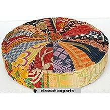 18x4 Virasat Vintage Chindi Floor cushion cover , Stuffed Puff ottoman, Floor Pillow, Round Yoga Pillow