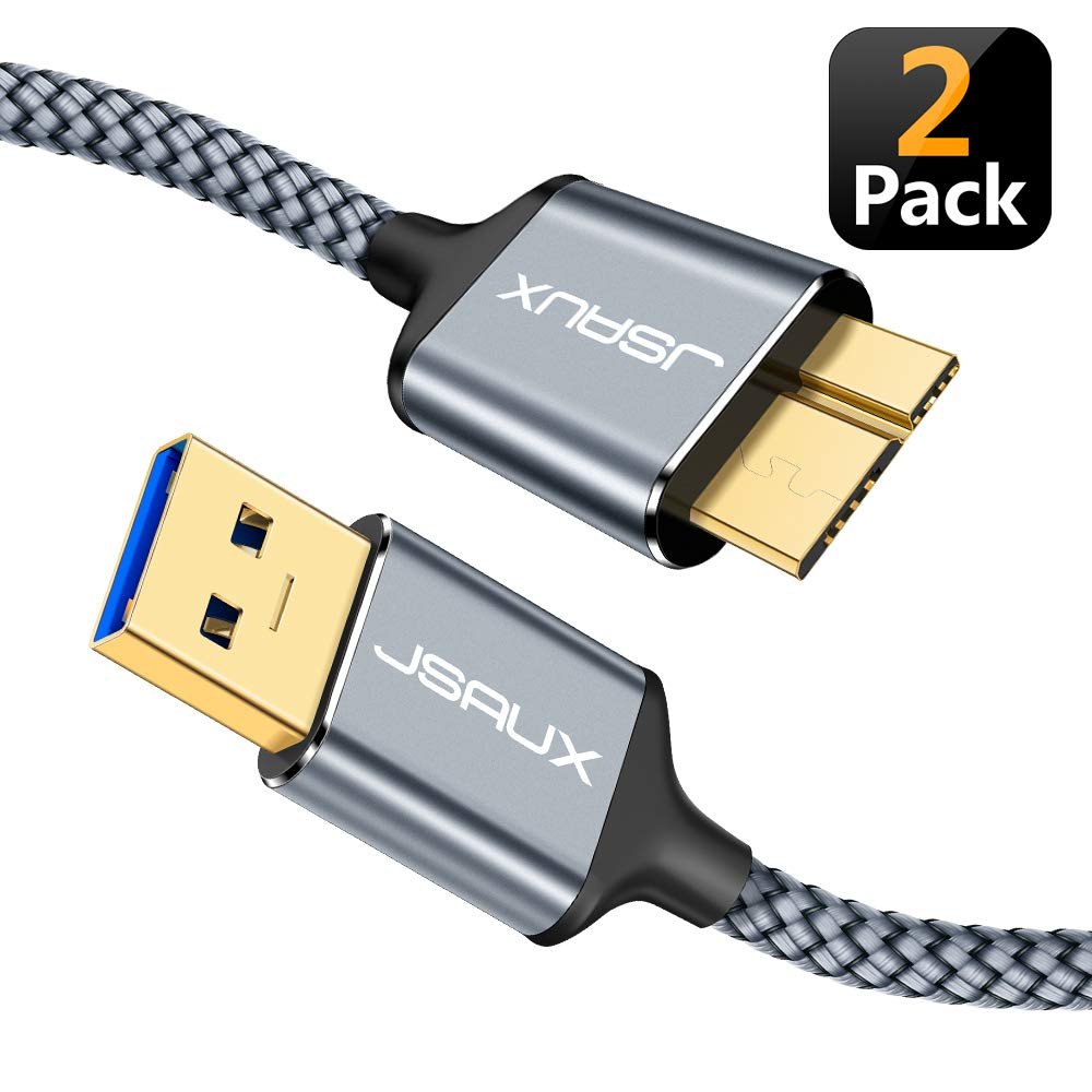 USB 3.0 Micro Cable, JSAUX 2 Pack (3.3ft+6.6ft) USB 3.0 A to Micro B Cable Charger Nylon Braided Cord Compatible with Samsung Galaxy S5, Note 3, Note Pro 12.2, Hard Drive, Camera etc. (Grey) by JSAUX (Image #1)