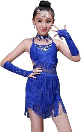 BOZEVON Kids Girls Performance Ballroom Costume Sequin Salsa Tango Tassel Latin Dance Dress