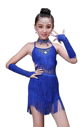 bb40c73306bb5 KINDOYO Performance Ballroom Costume Sequin Salsa Tango Tassel Latin Dance  Dress Kids Girls: Amazon.co.uk: Clothing