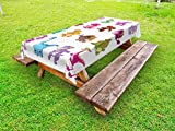 Ambesonne Jurassic Outdoor Tablecloth, Collection of Cute Dino's Dinosaurs Extinction Funny Comic Child Illustration, Decorative Washable Picnic Table Cloth, 58 X 84 Inches, Multicolor