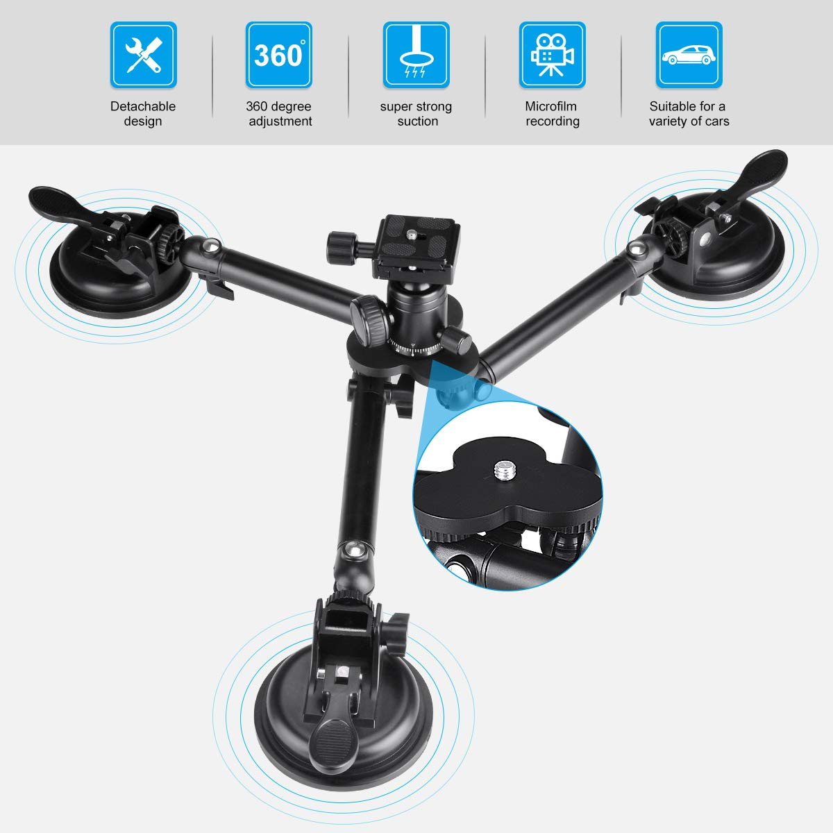 Professional Heavy Duty DSLR Camera Suction Cup Car Mount Camcorder Vehicle Holder w/ Quick Release 360°Panorama Ball Head Compatible with Nikon Canon Sony Mirrorless for Hi-Speed Motion Photography by fantaseal (Image #4)