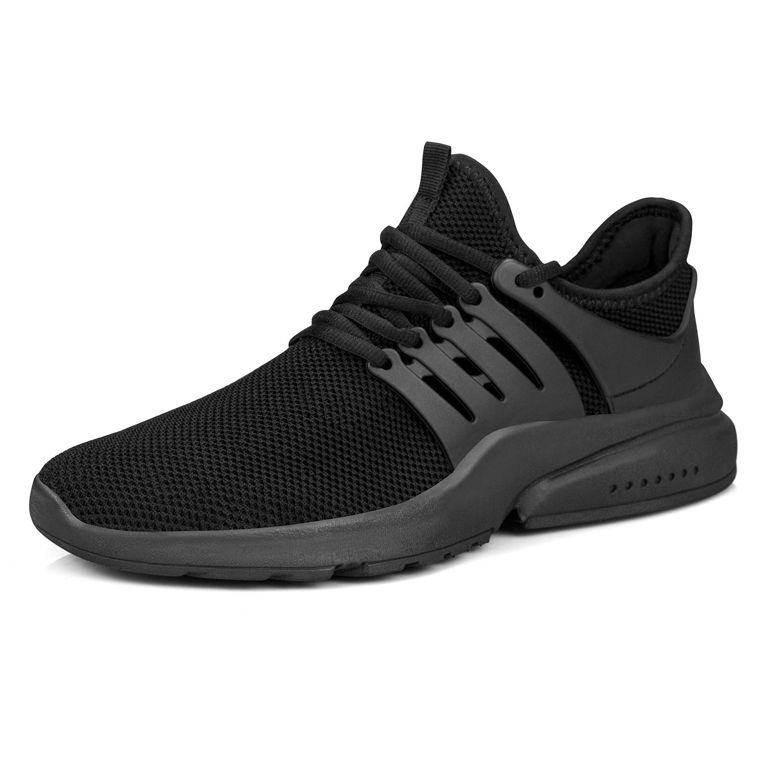 QANSI Tennis Shoes for Women Mesh Gym Running Casual Sneakers Black Size 8