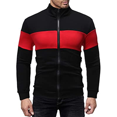 Eoeth Men Full Front Zipper Outwear Jackets Exercise Fitness Slim Fit Patchwork Coat Long Sleeve Sweatshirt Sportswear: Clothing